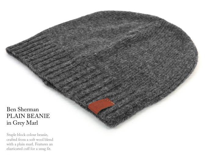 68532a7d26c ABBEY CLOZEST  Ben Sherman Ben Sherman wool plain Beanie knit hat ...