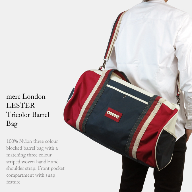 Merc London Navy Color Lester Tricolor Barrel Bag.  落ち着いた色合いのネイビーカラーをベースにトリコロールのラインがデザイン a54fcb0b05c86